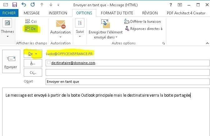 """""""envoyer en tant que avec Outlook et Office 365"""""""